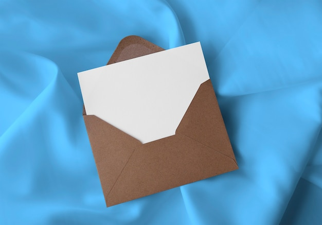 Envelope with card on fabric