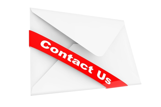 Envelope with contact us sign on a white background