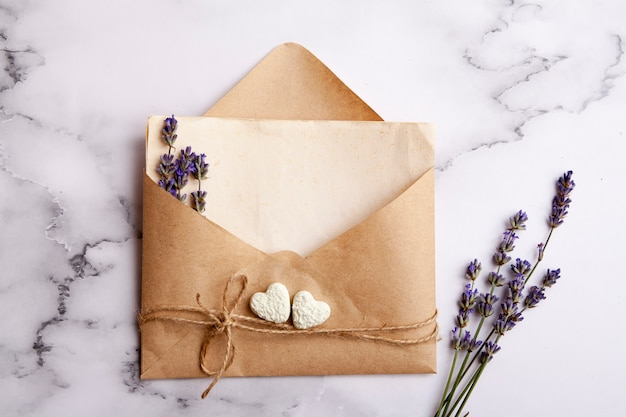 Envelope with copy space, lavender, hearts