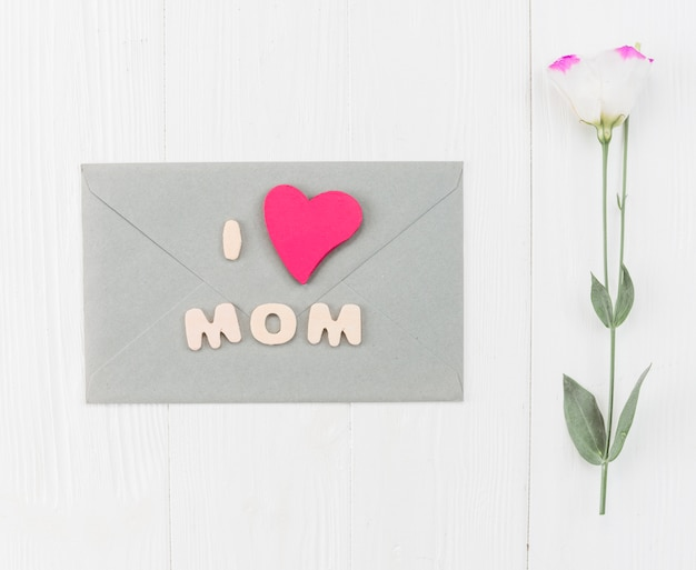 Envelope with flower for mother`s day