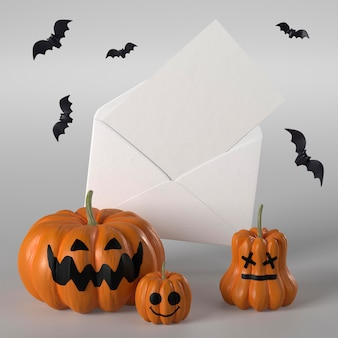 Envelope with greeting card for halloween