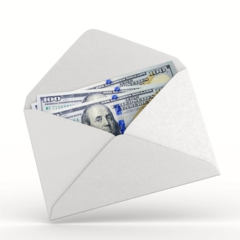 Envelope with money on white background. isolated 3d illustration