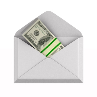 Envelope with money on white.