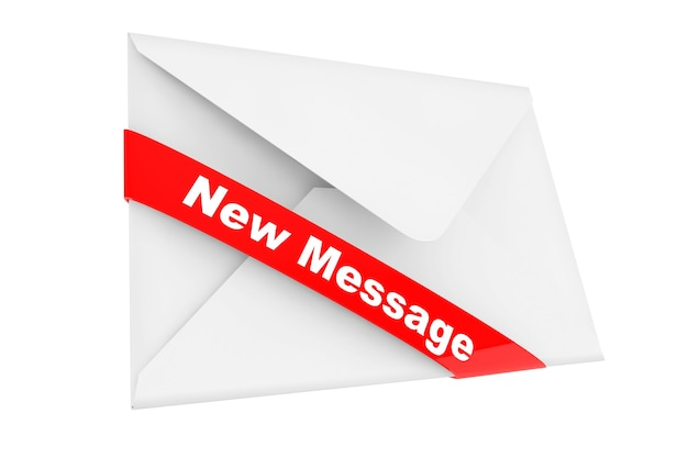 Envelope with new message sign on a white background