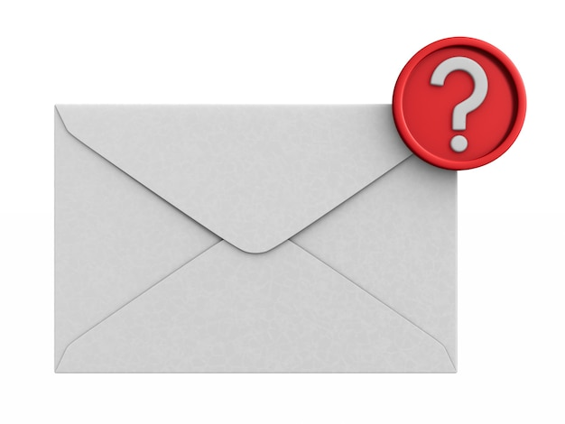 Envelope with notification on white background. isolated 3d illustration
