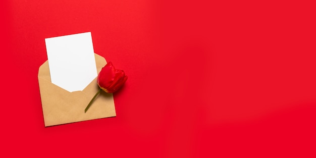 Envelope with space for text and red tulip on red background
