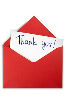 감사 메모가 있는 봉투