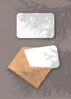 An envelope with two sheets of textured white paper on the brown background mockup overlay with the plant shadows