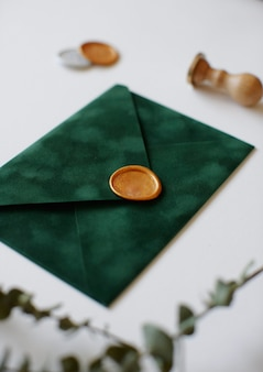Envelope with wax and leaves