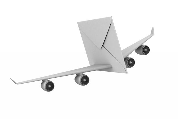 Конверт с крыльями на белом.