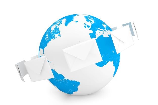 白い背景の上の世界中の封筒