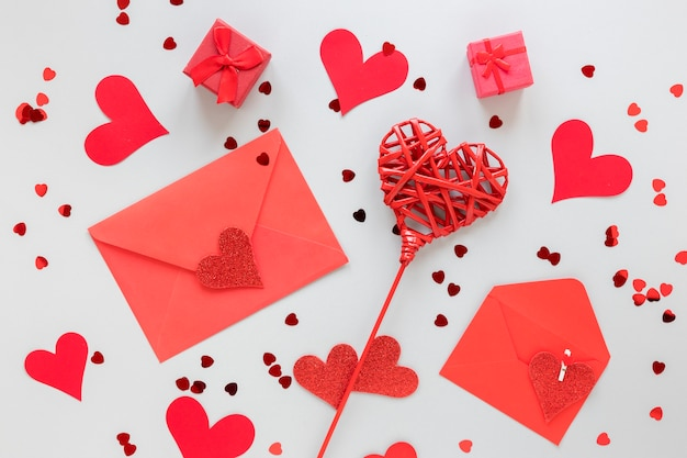Envelopes for valentines with hearts
