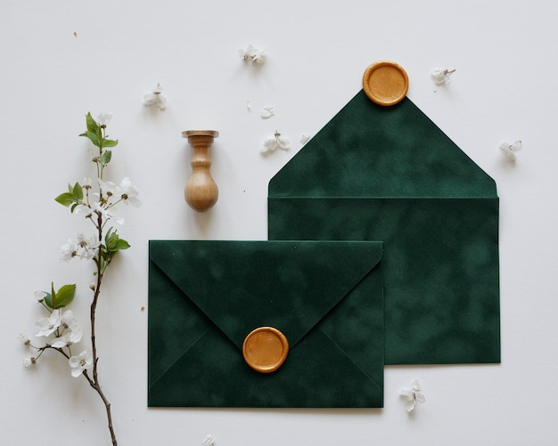 Envelopes with wax and flowers