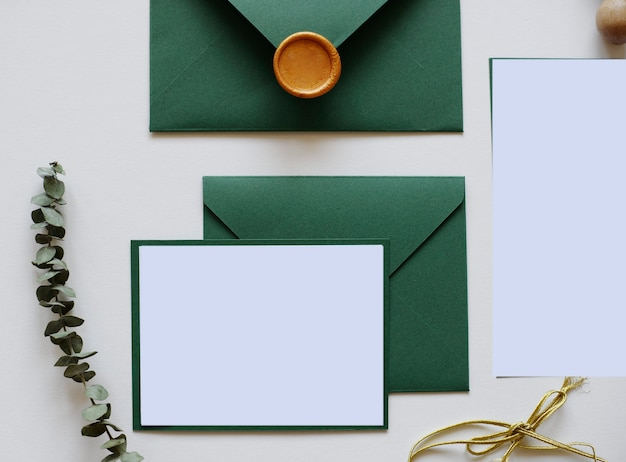 Envelopes with wax, letter and leaves