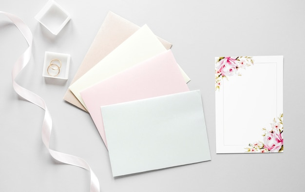 Envelopes with wedding invitation