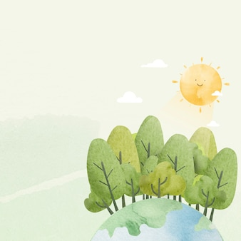 Environment background with cute sunshine watercolor illustration