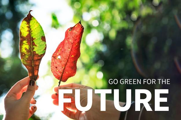 Banner ambientale con go green per il futuro