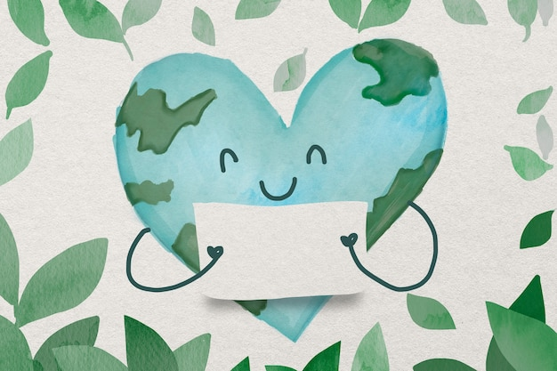 ハート型のイラストで地球と環境保全水彩カード