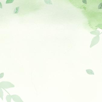 잎 테두리 일러스트와 함께 환경 녹색 수채화 배경