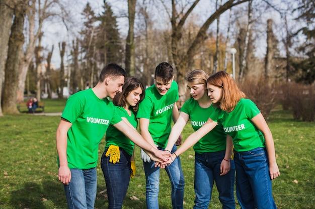Environment and volunteer teamwork concept