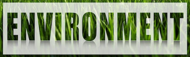 Environment word on white banner against background of green grass.