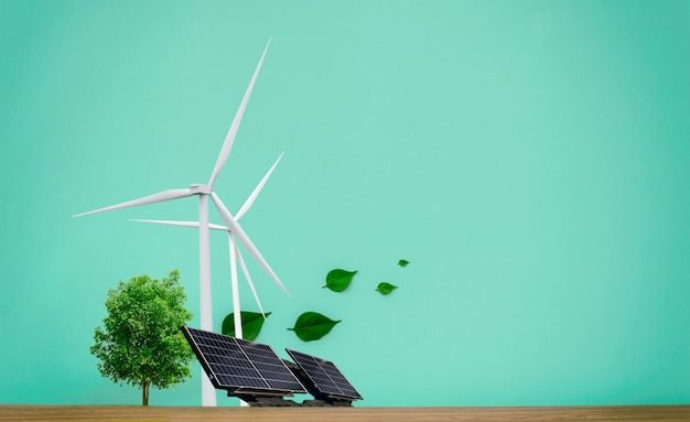 환경 개념 청정 에너지, 풍력 터빈, 태양 전지 및 나무