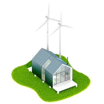 Environmental eco-concept.top view of a modern small white tiny house in the style of barn with a metal roof on an island with wind engines mill. 3d illustration on a white table, isolated