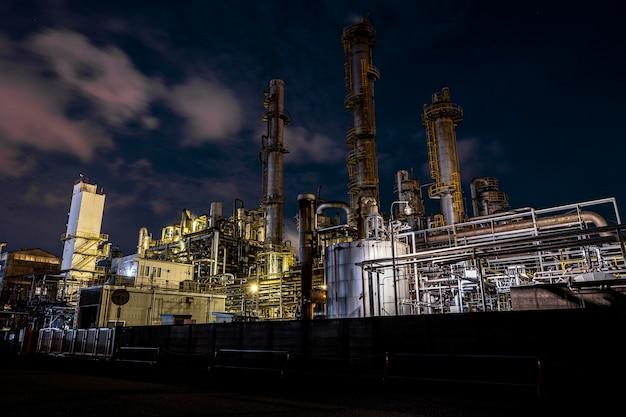 夜間の環境汚染と工場外観