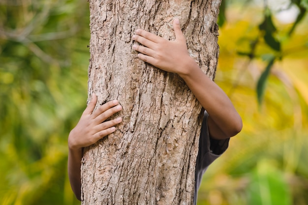 Environmentalist tree hugger is hugging wood trunk in forest