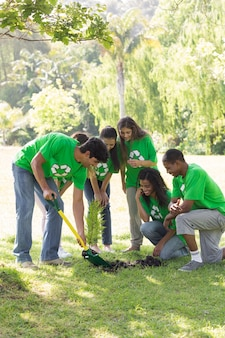 Environmentalists gardening in park