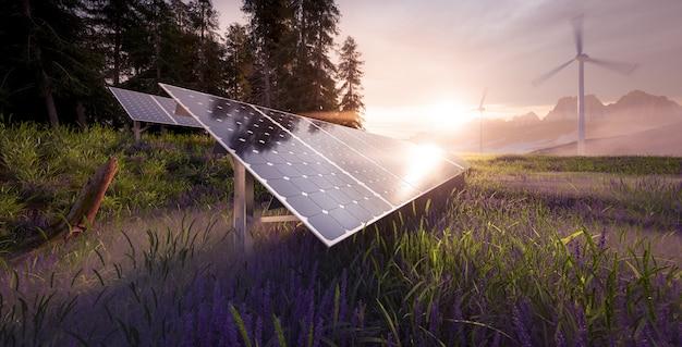 따스한 아침 햇살이 비치는 아름답고 신선한 산 풍경에 위치한 태양광 발전소와 풍력 터빈 농장의 환경 친화적 설치. 3d 렌더링.
