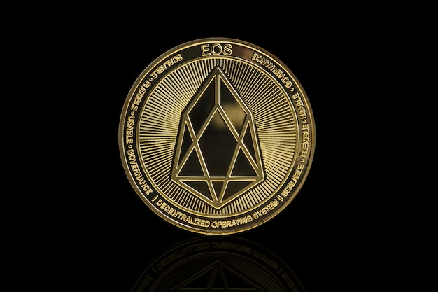 Eos cryptocurrency coin on black