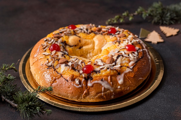 Epiphany day delicious cake with branches
