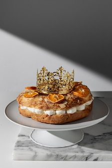 Epiphany day dessert with copy space and crown