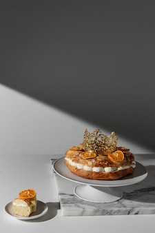 Epiphany day dessert with copy space and dried citrus