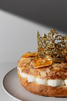 Epiphany day dessert with crown and copy space