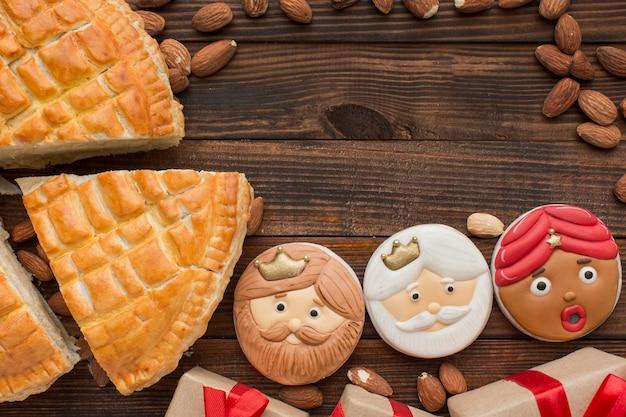 Крещение десертное печенье и пирог копией пространства