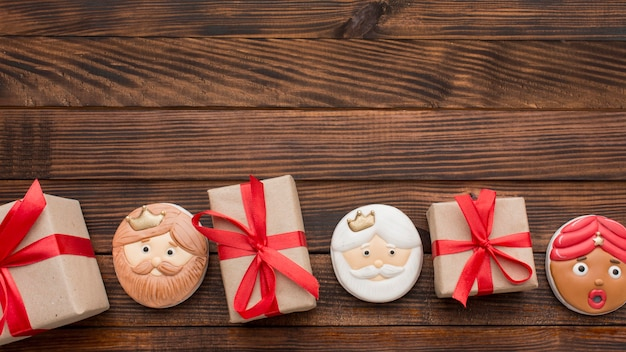 Epiphany dessert biscuits copy space wooden background