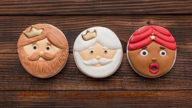 Epiphany dessert biscuits with faces
