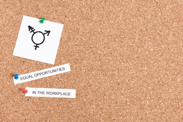 Equal opportunities in the workplace and gender symbol copy space