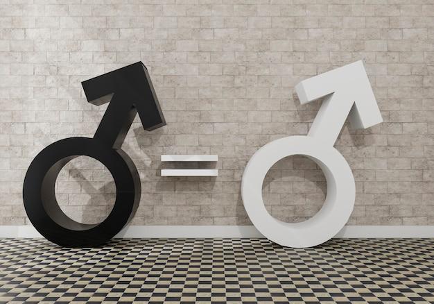 Равенство белых и черных женщин. символ черно-белых мужчин