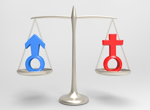 Equality of blue male and red female gender sign on silver balance scale