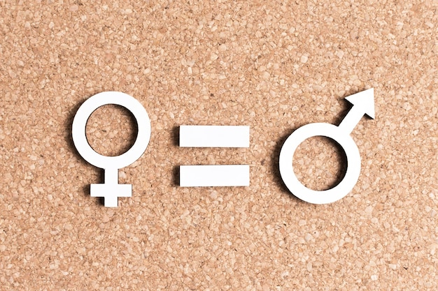 Equality between female and male gender symbols
