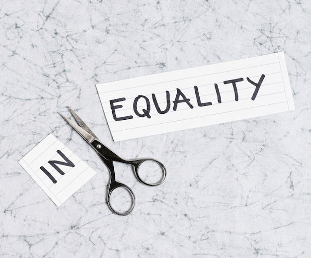Equality and inequality concept on marble