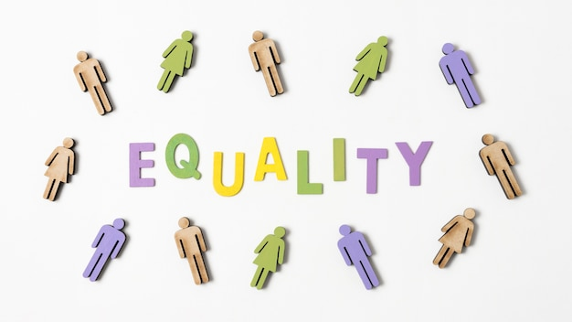 Equality lettering with people in surroundings