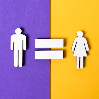 Equality between man and woman flat lay