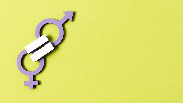 Equality between man and woman gender symbols copy space