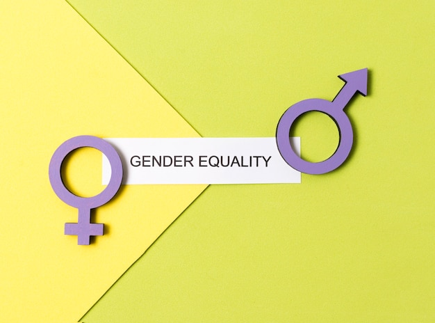 Equality between man and woman gender symbols