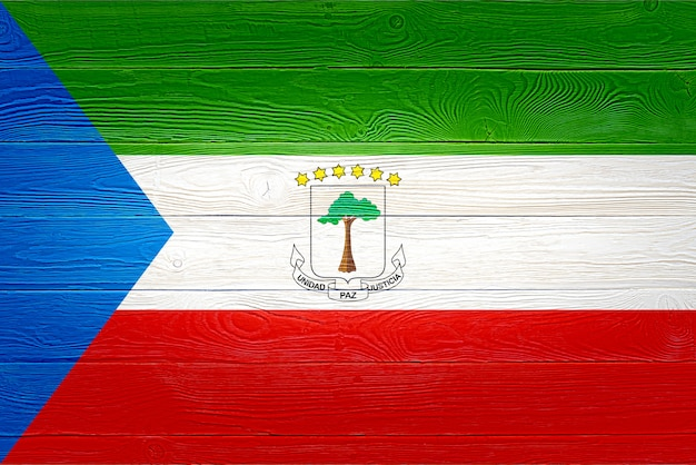 Equatorial guinea flag painted on wooden planks