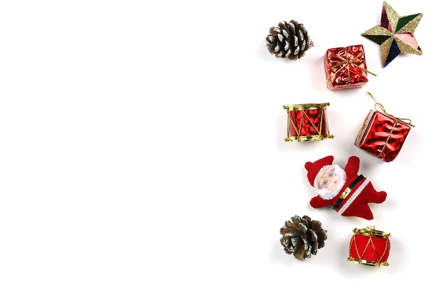 Equipment for christmas decoration isolated on white background.